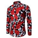 رخيصةأون أقراط-رجالي أساسي طباعة قطن قميص, ورد / ألوان متناوبة نحيل / كم طويل