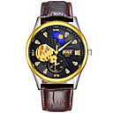 ieftine Ceasuri Bărbați-BOSCK Bărbați ceas mecanic Mecanism automat Piele Maro 30 m Rezistent la Apă Gravură scobită Iluminat Analog Lux Schelet - Alb Negru Auriu