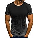 Χαμηλού Κόστους Ανδρικά μπλουζάκια και φανελάκια-Ανδρικά Μεγάλα Μεγέθη T-shirt Αθλητικά Ενεργό / Βασικό - Βαμβάκι Συνδυασμός Χρωμάτων Στρογγυλή Λαιμόκοψη Λεπτό Στάμπα Ρουμπίνι / Κοντομάνικο