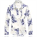رخيصةأون قمصان رجالي-رجالي النمط الصيني قطن قميص, ورد / كم طويل / الصيف