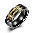 ieftine Inele-Bărbați Band Ring Groove Inele 1 buc Negru Placat Auriu inox Circle Shape Design Unic Vintage Zilnic Muncă Bijuterii Stil Vintage Două-Tonuri Creative Cool