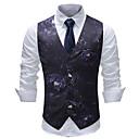 povoljno Muški sakoi i odijela-Muškarci Veći konfekcijski brojevi Mellény, Na točkice / Geometrijski oblici V izrez Pamuk / Akril / Poliester Crn
