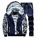 povoljno Muške jakne-Muškarci Osnovni Dugih rukava Activewear Set kamuflaža S kapuljačom