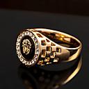 ieftine Inele-Bărbați Inel de declarație Inel sigiliu Diamant sintetic Auriu Argintiu Zirconiu Cubic Aliaj Personalizat Lux Militar Petrecere Cadou Bijuterii Gravat HALO Leu King Animal