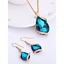 Women's Sapphire Crystal Jewelry Set Drop Earrings Pendant Necklace Pear Cut Solitaire Drop Ladies Fashion Elegant Rose Gold Crystal Rhinestone Earrings Jewelry Red / Green / Blue Wedding Party