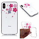 رخيصةأون أغطية أيفون-غطاء من أجل Apple iPhone X / iPhone 8 Plus / iPhone 8 IMD / شفاف / نموذج غطاء خلفي زهور ناعم TPU