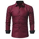 رخيصةأون قمصان رجالي-رجالي عمل الأعمال التجارية / أساسي طباعة قميص, لون سادة / مخطط / كم طويل