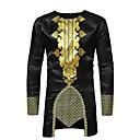 ieftine Costume Cosplay-Bărbați Rotund Tricou De Bază - Tribal Imprimeu Negru / Manșon Lung