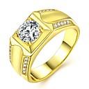 povoljno Roboti i dodaci-Par je Prstenje za parove Prsten Zaručnički prsten 1pc Zlato 18K pozlaćeni mesing Imitacija dijamanta dame Luksuz Klasik Vjenčanje Maškare Jewelry Vintage Style Klasičan Cool
