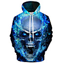 cheap Earrings-Men's Plus Size Active / Exaggerated Long Sleeve Loose Hoodie - 3D / Cartoon Print Hooded Blue S / Fall / Winter