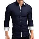 povoljno Muške košulje-Veći konfekcijski brojevi Majica Muškarci - Posao / Punk & Gotika Praznik / Rad Pamuk Color block Crn / Dugih rukava