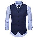 رخيصةأون سترات و بدلات الرجال-رجالي مناسب للبس اليومي أساسي الخريف / الشتاء عادية Vest, لون سادة V رقبة بدون كم سباندكس أسود / أزرق البحرية / نبيذ