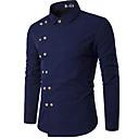 رخيصةأون قمصان رجالي-رجالي قميص لون سادة أسود L / مرتفعة / كم طويل