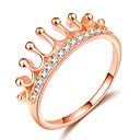 ieftine Ustensile de Fructe & Legume-Pentru femei Inel Prințesă coroană inel 1 buc Roz auriu Alamă Placat Cu Aur Roz Diamante Artificiale femei La modă Modă Dată Ieșire Bijuterii Stl Coroane Draguț