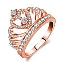 ieftine Ustensile & Gadget-uri de Copt-Pentru femei Inel Prințesă coroană inel 1 buc Roz auriu Alamă Placat Cu Aur Roz Diamante Artificiale femei Clasic Romantic Nuntă Serată Bijuterii Stl Coroane Draguț