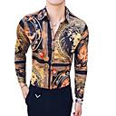 povoljno Muške košulje-Majica Muškarci - Vintage Dnevno / Izlasci Životinja / Etno Klasični ovratnik Slim Braon / Dugih rukava / Ljeto