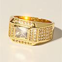 preiswerte Ringe Herren-Herrn Ring 1pc Gold Messing Diamantimitate 24K Gold Plated Luxus Klassisch Modisch Hochzeit Party Schmuck Klassisch Stilvoll Solitär Kostbar Cool