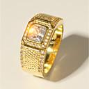 povoljno Prstenje-Muškarci Prsten 1pc Zlato mesing Imitacija dijamanta 24K Gold Plated Luksuz Klasik Moda Vjenčanje Večer stranka Jewelry Klasičan Sa stilom Radiant Cut dragocjen Cool