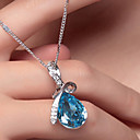 Women's Crystal Pendant Necklace Pear Cut Solitaire Drop Aquarius Teardrop Cheap Ladies Fashion Elegant Bling Bling Silver Plated White Gold Alloy Purple Champagne Orange Green Red Necklace Jewelry