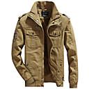 povoljno Men's Winter Coats-Muškarci Dnevno / Sport Normalne dužine Jakna, Jednobojni Ruska kragna Dugih rukava Pamuk / Lan Crn / Vojska Green / Žutomrk