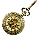 رخيصةأون ساعات الرجال-نسائي ساعة جيب ساعة ذهبية داخل الساعة أتوماتيك ذهبي نقش جوفاء ساعة كاجوال جمجمة مماثل سيدات ترف جمجمة - ذهبي