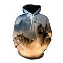 رخيصةأون القلائد-رجالي مبالغ فيه فضفاض بنطلون - 3D ذئب, طباعة التقزح اللوني / كم طويل / الخريف / الشتاء