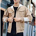 povoljno Men's Winter Coats-Muškarci Sport / Početnik Proljeće & Jesen Normalne dužine Jakna, Color block S kapuljačom Dugih rukava Poliester Sive boje / Svijetlo zelena / Žutomrk