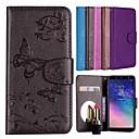 رخيصةأون Huawei أغطية / كفرات-غطاء من أجل Samsung Galaxy A6 (2018) / Huawei Y6 (2018) حامل البطاقات / مع حامل / نموذج غطاء كامل للجسم فراشة / زهور قاسي جلد PU