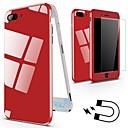 رخيصةأون أغطية أيفون-غطاء من أجل Apple iPhone X / iPhone 8 Plus / iPhone 8 ضد الصدمات / مغناطيس غطاء كامل للجسم لون سادة قاسي معدن