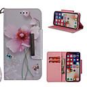 رخيصةأون أغطية أيفون-غطاء من أجل Apple iPhone X / iPhone 8 Plus / iPhone 8 محفظة / حامل البطاقات / مع حامل غطاء كامل للجسم زهور قاسي جلد PU