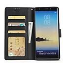 رخيصةأون أغطية أيفون-غطاء من أجل Samsung Galaxy Note 8 / Note 5 / Note 4 محفظة / حامل البطاقات / مع حامل غطاء كامل للجسم لون سادة قاسي جلد PU