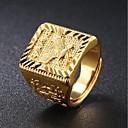 preiswerte Ringe Herren-Herrn Siegelring Gold 18 karat vergoldet Quadratisch Geometrische Form Asiatisch Street Schick HipHop Alltag Party Schmuck Stilvoll Graviert Eagle Familienwappen Cool