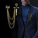 povoljno Ogrlice-Muškarci Kubični Zirconia Broševi Sa stilom Poveznica / lanac Kereszt Lubanja Statement Moda Uglađeni Broš Jewelry Zlato Pink Za Dnevno Praznik