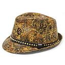povoljno Muški šeširi-Muškarci Print Vintage PU-Šešir širokog oboda Crn žuta Bijela
