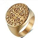 povoljno Prstenje-Muškarci Midi prsten Pečatni prsten 1pc Zlato Titanium Steel Circle Shape Vintage Party Dnevno Jewelry Retro Graviranog Kreativan obiteljski grb Cool
