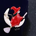 povoljno Broševi-Žene Kubični Zirconia Broševi Klasičan Los Kreativan Klasik Crtići Slatka Style Umjetno drago kamenje Broš Jewelry White / Red Za Božić Dnevno