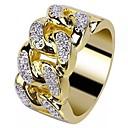 povoljno Prstenje-Muškarci Prsten Kubični Zirconia 1pc Zlato 18K pozlaćeni Kamen Umjetno drago kamenje Krug Stilski Europska pomodan Vjenčanje Maškare Jewelry Sa stilom Kreativan Cool