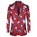 abordables Vestes Homme-Homme Soirée / Quotidien Normal Blazer, Couleur Pleine / Géométrique Col châle Manches Longues Coton / Polyester Rouge