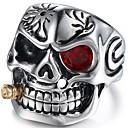povoljno Prstenje-Muškarci Midi prsten Ruby 1pc Srebro Crvena Titanium Steel Geometric Shape Vintage Dnevno Kamado roštilj Jewelry Vintage Style Meksička lubanja šećera Lubanja Cool