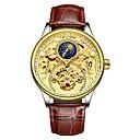 voordelige Merk Horloge-Tevise Heren mechanische horloges Japans Automatisch opwindmechanisme Echt leer Zwart / Bruin 30 m Waterbestendig s Nachts oplichtend Maanfase Analoog Informeel Modieus - Zwart en Gold Goud Bruin