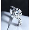 ieftine Inele-Pentru femei Inel 1 buc Argintiu Articole de ceramică Placat cu platină Diamante Artificiale Montaj de Patru femei Romantic Modă Nuntă Oficial Bijuterii Stl Crossover HALO Iubire Încântător