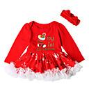 رخيصةأون لعب-فستان قطن فوق الركبة كم طويل طباعة / عيد الميلاد مناسب للحفلات رياضي Active / أساسي للفتيات طفل