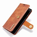 رخيصةأون إكسسوارات سامسونج-غطاء من أجل OnePlus OnePlus 6 محفظة / حامل البطاقات / مع حامل غطاء كامل للجسم لون سادة قاسي جلد أصلي