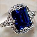 povoljno Komplet nakita-Par je Prsten Sapphire Sintetički Sapphire 1pc purpurna boja Plava Kamen Titanium Steel Kubni dame Stilski Klasik Vjenčanje Party Jewelry Klasičan Sa stilom Pasijans