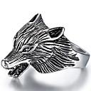 رخيصةأون القلائد-رجالي خاتم 1PC فضي نحاس الصلب التيتانيوم بانغك شارع مجوهرات ستايل 3D ذئب
