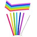 povoljno Slamke i štapići za mješanje-6pcs / lot višekratna silikonska slama slame slamke za kućnu zabavu pribor s čistim četkom set barware gadgete