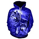 رخيصةأون أساور-رجالي قياس كبير فضفاض بنطلون - 3D ذئب, طباعة أزرق / مع قبعة / الرياضة / كم طويل / الخريف / الشتاء
