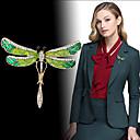 povoljno Broševi-Žene Kubični Zirconia Broševi Vintage Style Dragonfly dame Personalized Jedinstven dizajn Korejski Moda Broš Jewelry Zelen Za Angažman Dar Večer stranka