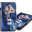 ieftine Tije Pescuit-Maska Pentru Apple iPhone XS / iPhone XR / iPhone XS Max Portofel / Titluar Card / Cu Stand Carcasă Telefon Animal / Leu Greu PU piele
