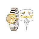 ieftine Benzi Lumină LED-Pentru femei Ceas Brățară Quartz Set cadou Oțel inoxidabil Alb / Auriu / Roz auriu Cronograf Creative Model nou Analog femei Lux Elegant - Roz auriu Argintiu / alb Aur / argint / alb Un an Durată de